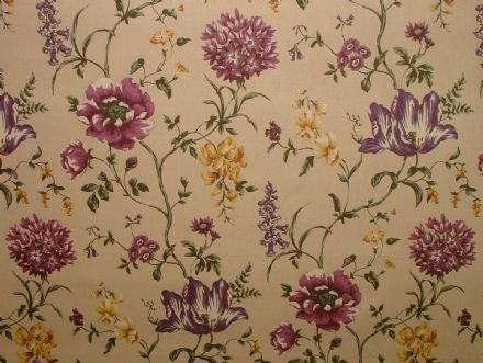 Ashley Wilde LEDBURY Damson  FLORAL Curtain /Upholstery /Soft Furnishing Fabric